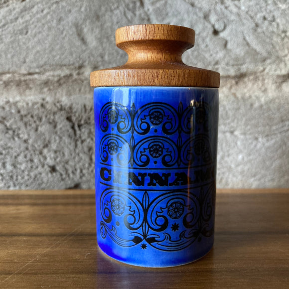 Hornsea 'Scroll' Blue lidded Cinnamon Spice Jar