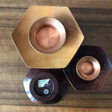 Set of 3 hardwood (teak) Mid Century candle holders