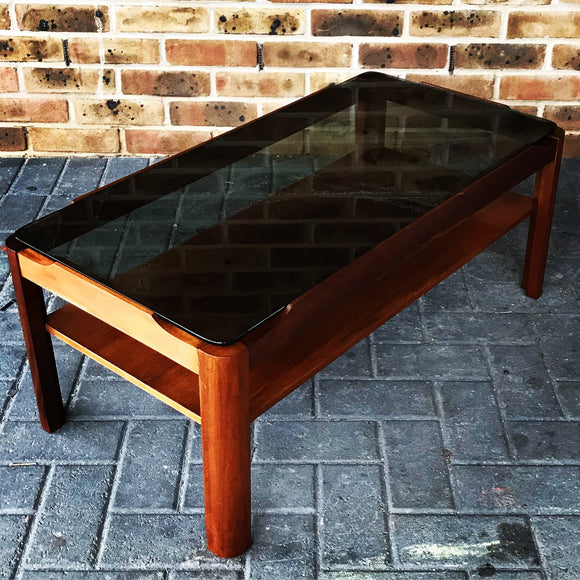 MYER teak and smoked glass coffee table