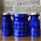 Portmeirion blue 'Totem' 3 x lidded Storage Jars