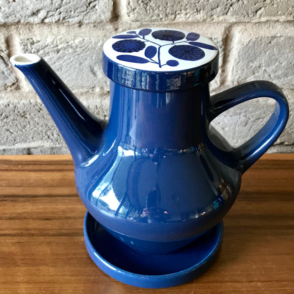 1960's Melitta Coffee Pot, blue with flowers to lid