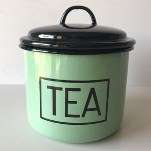 'Silesia' Polish Enamel  Storage Jar - Tea