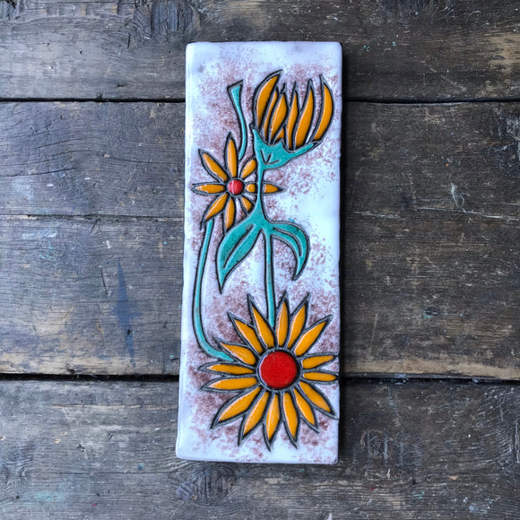 West German Wall Tile Sunflowers