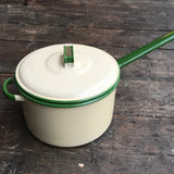 Judge Ware, vintage enamel pot, cream with green rim, 22cm