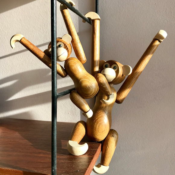 Two Danish mid century shelf monkeys