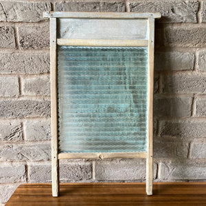 Antique Wooden and Glass Washboard