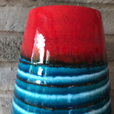 529 38 West German Vase - Scheurich, red/blue banded