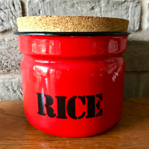 Polish enamel storage jar 'rice', red