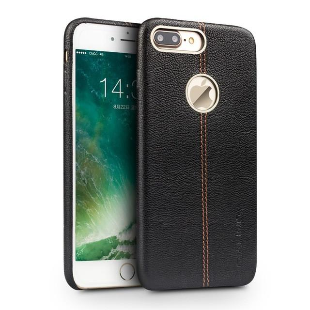 Iphone (7 & 7 Plus) Luxury Genuine Leather Back Case W/ Middle Stitch Black / For Tekgq