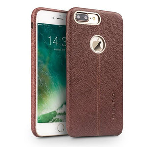 Iphone (7 & 7 Plus) Luxury Genuine Leather Back Case W/ Middle Stitch Brown / For Tekgq