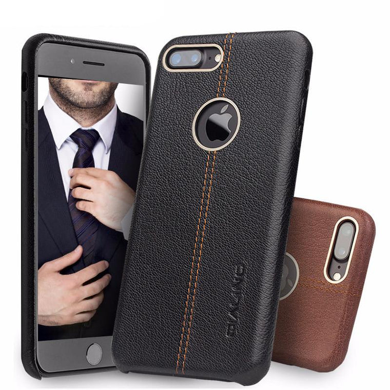 Iphone (7 & 7 Plus) Luxury Genuine Leather Back Case W/ Middle Stitch Tekgq