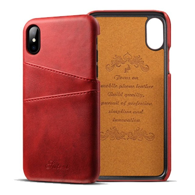 Slim iPhone X Vintage Leather Case - TekGQ