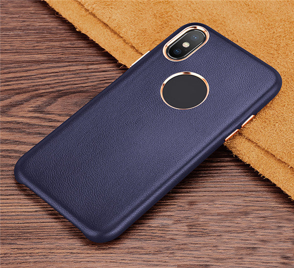 iPhone X Genuine Leather Slim Hard Back Case
