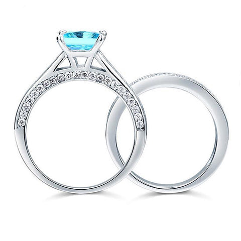 Blue Princess Cut Engagement Set