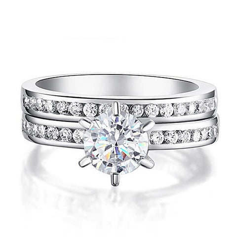 Classic Wedding Ring Set 1ct Sterling Silver