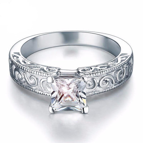 Princess Cut Engagement Ring Vintage Style