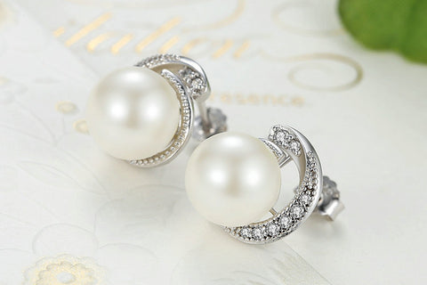 Pearl Earrings Push-back Stud Earrings