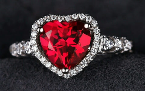 Red heart ring 2.7ct, 925 sterling silver with cubic zirconia