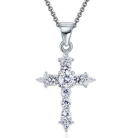 Beautiful Created Diamond Cross Necklace