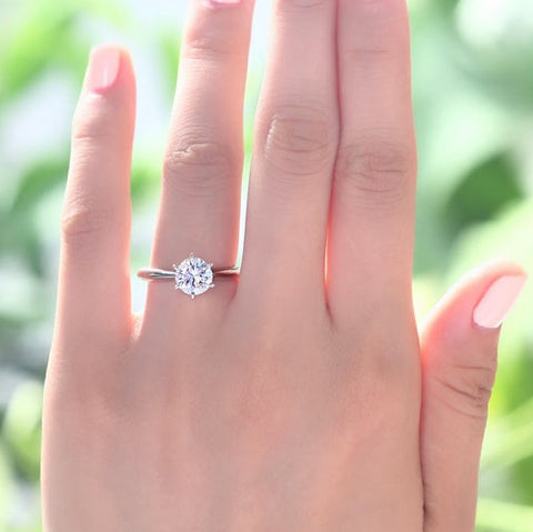 Classic six prong solitaire engagement ring