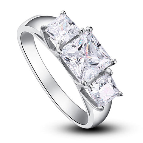 Wedding Ring 3-Stones Created Diamond