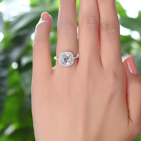 Engagement Ring Cushion Cut Sterling Silver Ring