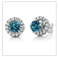 Natural, London Blue Topaz, Women's Earrings, 1.49 Ct,  Round,  Sterling Silver Stud Earrings, with Jackets
