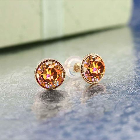 Natural Mystic Topaz, 14K, Yellow Gold, Stud Earrings, 1.90 Ct,  Fine Jewelry