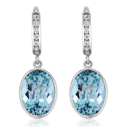 Natural Blue Topaz Dangle Earrings Oval Shape Luxury Jewelry 925 Sterling Silver