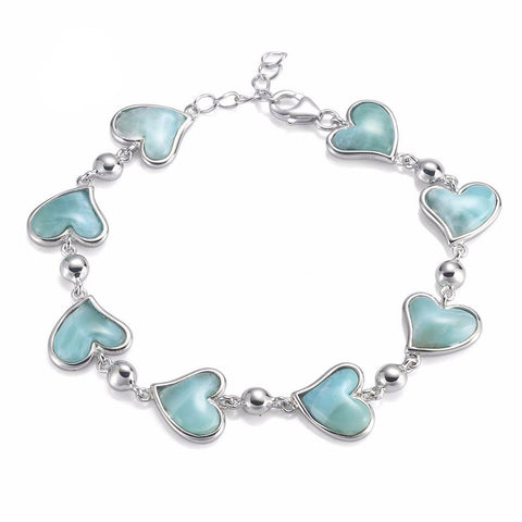 Larimar, natural stone, Heart Bracelet, For Women, sterling Silver, Bracelet