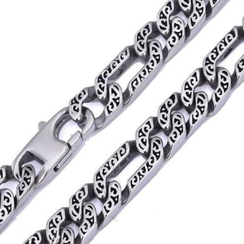 Heavy Figaro Mens Chain Necklace Stainless Steel