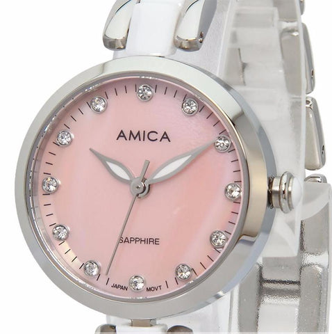 Women's Amica Quartz Sapphire Watch, Ceramic band, Silver Tone Stainless Steel Wrist Watch