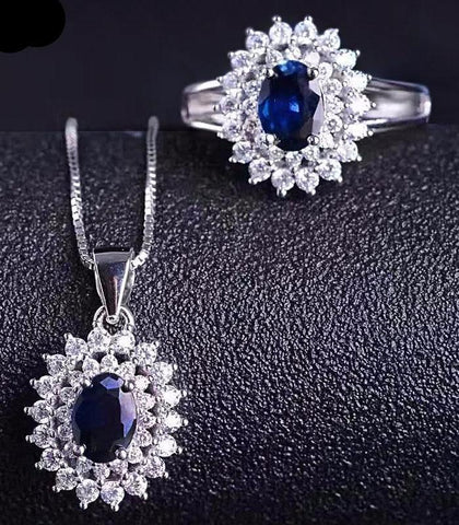 Natural Sapphire, Gemstone Jewelry Set, Sterling Silver Ring, Pendant, Necklace