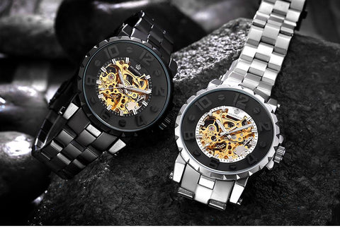 Mens black mechanical skeleton watch
