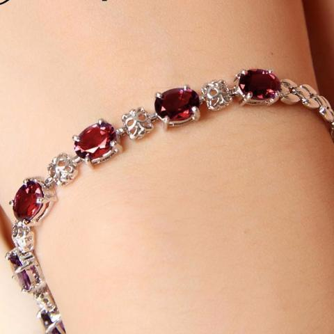 Luxurious natural garnet bracelet high quality 925 Solid Sterling Silver