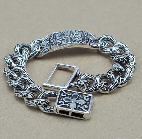Men's Thai silver cross link bracelet