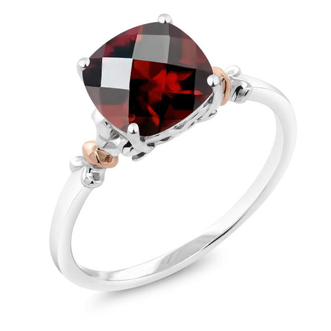 Natural Garnet, Sterling Silver and 10K Rose Gold Ring,  2.40 Ct Cushion Checkerboard