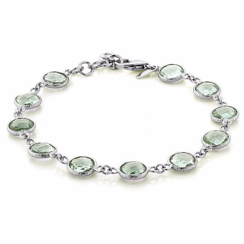 Genuine Green Amethyst, Sterling Silver, Tennis Bracelet, 25.00 ctw