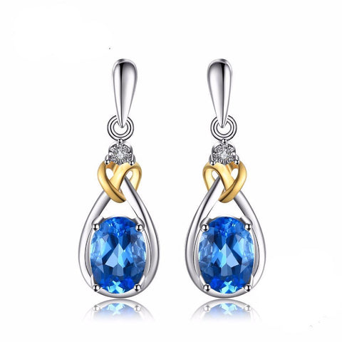 Natural Blue Topaz Earrings Dangle Diamond Love Knot 1.9ct Solid 925 Sterling Silver 18K Yellow Gold Fine Jewelry