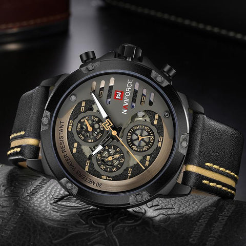 Men Sport Leather Watch Man