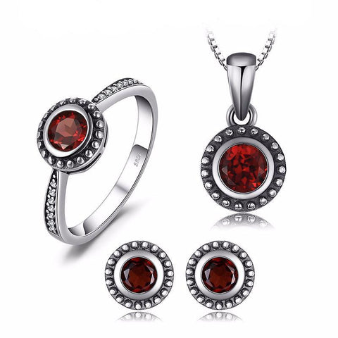 Natural Garnet, jewelry set, 1.8 ct. Ring, Earrings, Pendant, Necklace, Sterling Silver