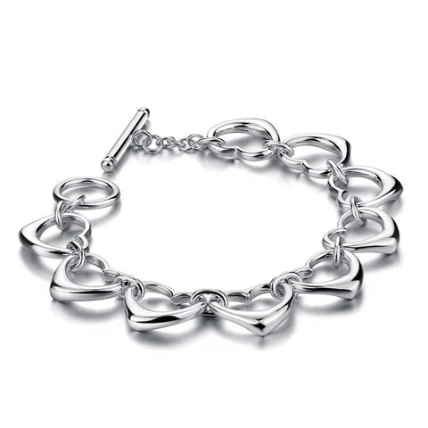 Heart shaped bracelet, solid sterling silver bracelet, for women