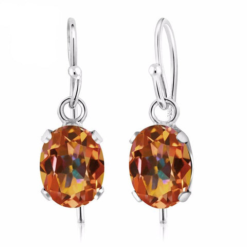 Topaz Earrings, Natural Mystic Topaz, 1.90 Ct Oval, Sterling Silver Earrings