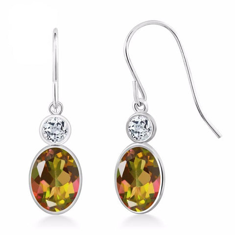 White Gold, Natural Mango, Mystic Topaz, White Topaz, 14K, Oval, Drop Earrings, 1.88 Ct