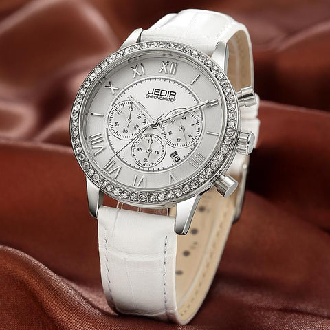 Women's Chronograph Luminous Hands Date Indicator, Rhinestone, Genuine Leather