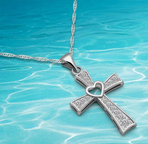 Sterling Silver Cubic Zirconia Cross, with a Heart, Pendant, Chain Necklace