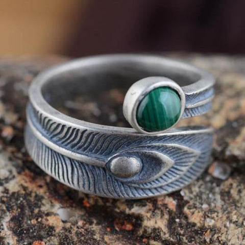 Sterling Silver Malachite Open Ring