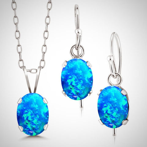 Cabochon Blue Opal Pendant and Earring Set