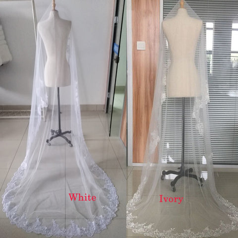 Wedding Veil, Lace, Cathedral wedding, White or Ivory Bridal Veil Without Comb