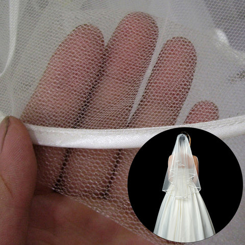 Simple and Elegant Wedding Veil with Comb and Lace Ribbon Edge